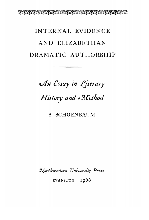 Cover of Internal Evidence and Elizabethan Dramatic Authorship