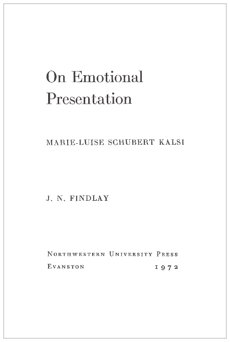 Cover of On Emotional Presentation