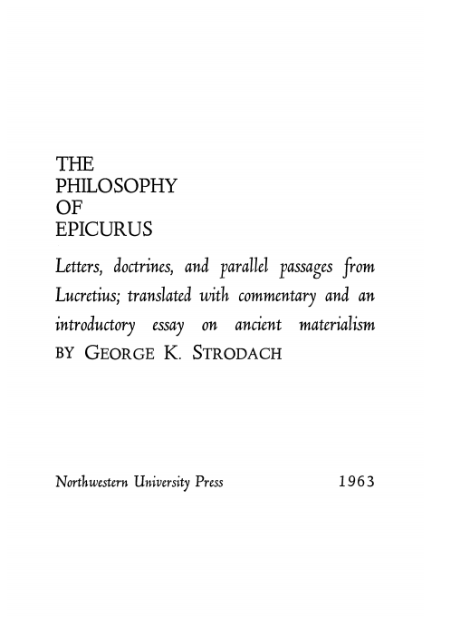 Cover of Philosophy of Epicurus