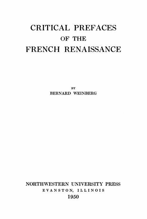 Cover of Critical Prefaces of the French Renaissance