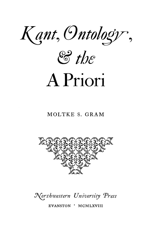Cover of Kant, Ontology, and the A Priori