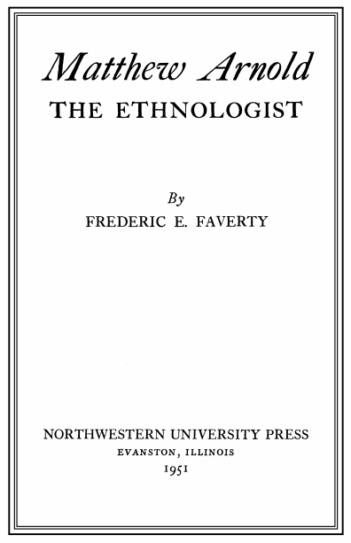 Cover of Matthew Arnold the Ethnologist