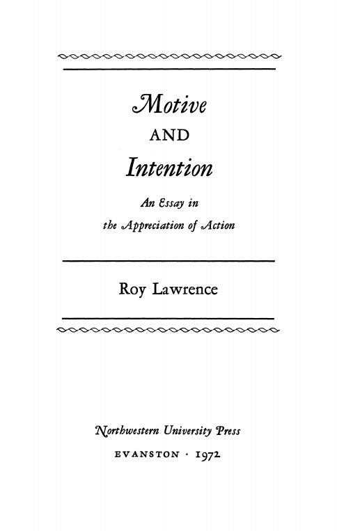 Cover of Motive and Intention