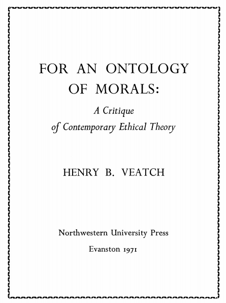 Cover of For an Ontology of Morals