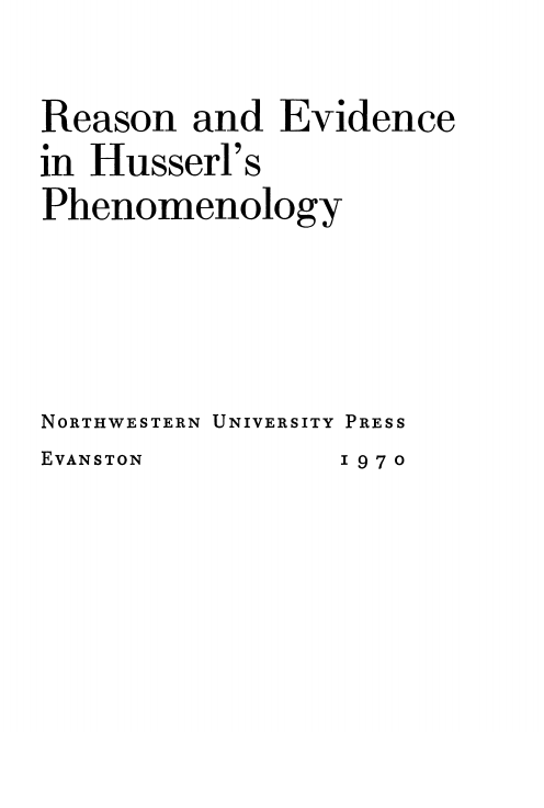 Cover of Reason and Evidence in Husserl's Phenomenology