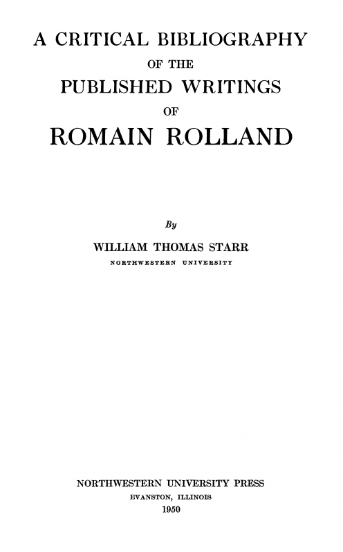 Cover of Critical Bibliography of the Published Writings of Romain Rolland