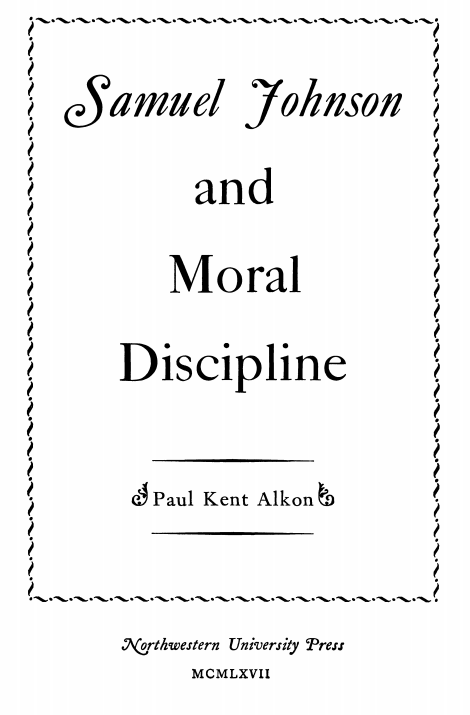 Cover of Samuel Johnson and Moral Discipline